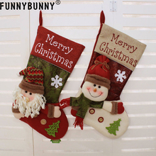 FUNNYBUNNY Christmas Xmas Stocking Cute Decorations Gift Toys Stockings Bag 3D Plush Linen Hanging Tag