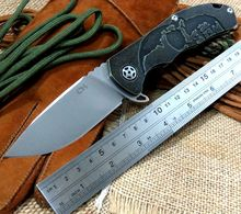Best Value CH 3504 Folding Knife S35VN Stonewash blade Black Gold TC4 Titanium  Handle ball Bearings camping knife