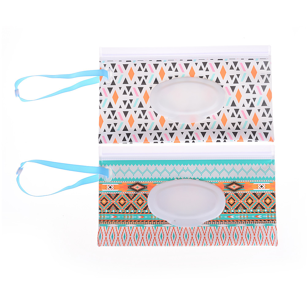 Brilliant Eco-friendly Wet Wipes Bag Clutch And Clean Wipes Carrying Case Clamshell Cosmetic Pouch Easy-carry Snap-strap Wipes Container