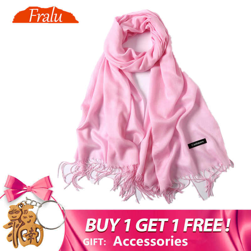 e89062a967dce FRALU New fashion spring winter scarves for women shawls and wraps lady  pashmina pure long cashmere