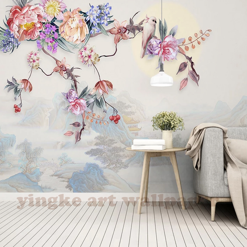 Photo Wallpaper Hand Painted Flowers