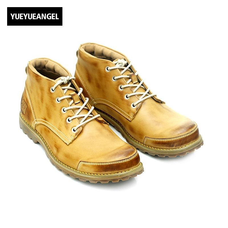 2018 New Arrival Hot Sale Men Shoes Comfrtable Breathable For Men Yellow Ankle Boots Genuine Leather Shoes Boots Free Shipping hot sale men fashion shoes breathable anti skit genuine leather ankle boots for men lace up comfortable desert boots yellow