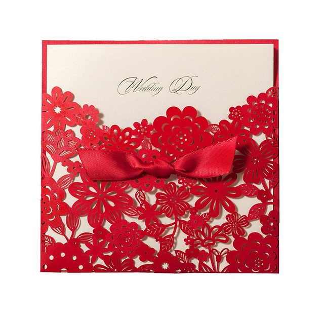 Chinese Red Laser Cut Wedding Invitation Cards Free Personalized