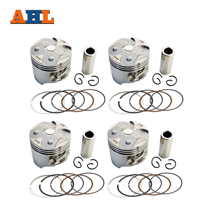 AHL 4 Sets Motorcycle Pistons Rings Clips Pin Kit Oversize Bore +100 49.5mm For Honda CBR250 MC19 KY1
