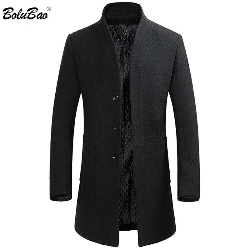 BOLUBAO Men Winter Wool Coat Men's Solid Color Standing Collar Slim Fit Wool Blends Woolen Pea Coat Male Trench Coat Overcoat