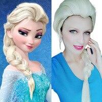 Princess Elsa Cosplay Ice Queen Costume Elsa Wig Halloween Accessories Women Snow Queen Golden Ice Perruque Princess Costume