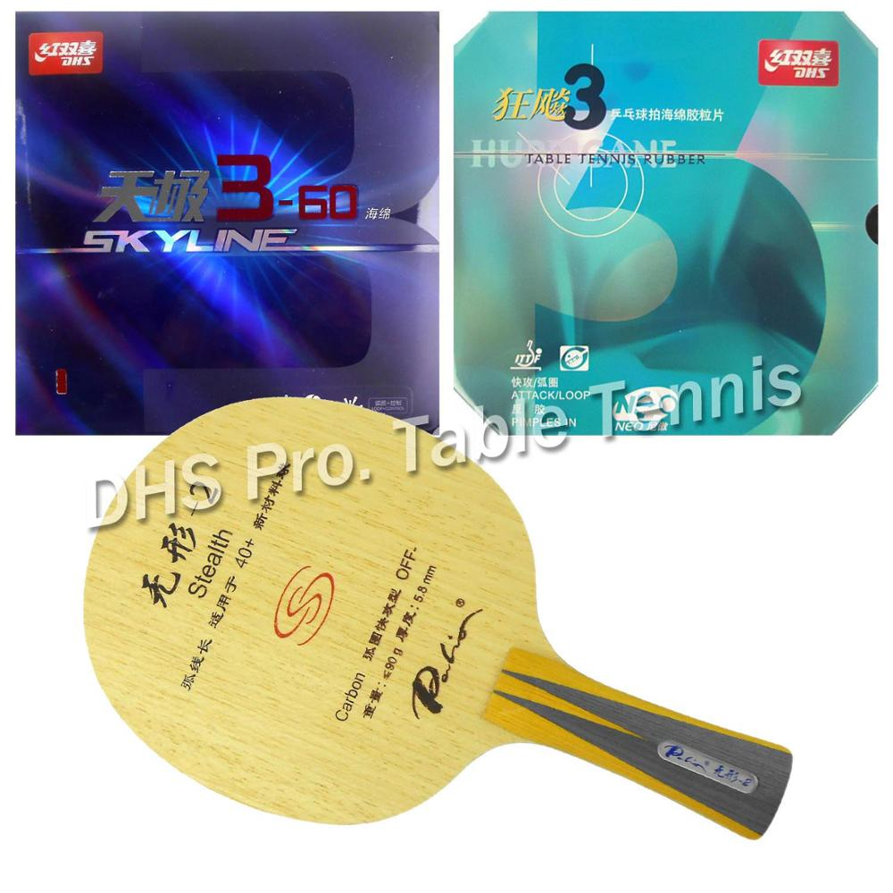 Pro Table Tennis Combo Paddle Racket Palio Stealth-2 with DHS NEO Hurricane 3 and Skyline 3-60 Shakehand long handle FL zizek now