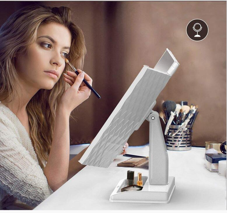 Led three sided folding mirror multi magnification high grade strong texture European and American dressing table lamp mirror
