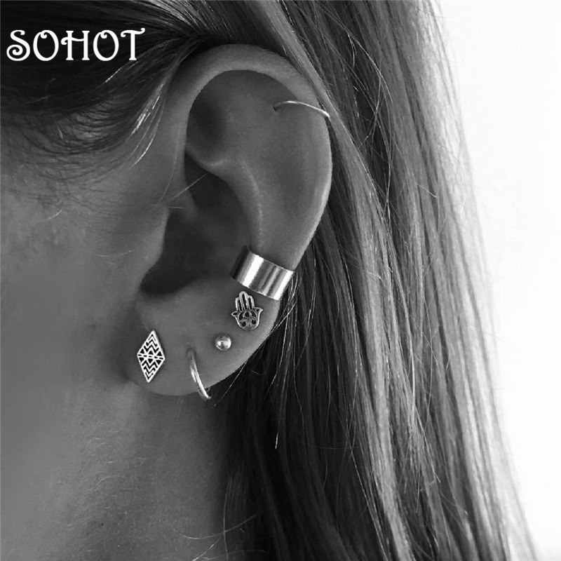 SOHOT Vintage Ethnic Style Women Set Hoop Earrings Brand Popular Punk Style Hamsa Hand Chic Small Circle Lady Jewely Brincos