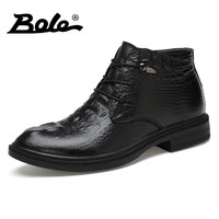 BOLE Brand Men Shoes 2017 Autumn Winter New Design High Top Men Leather Shoes Handmade Cowhide