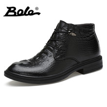 BOLE Brand Men Shoes 2017 Autumn&winter New Design High Top Men Leather Shoes Handmade Cowhide Leather Shoes Men Big Size 35-48