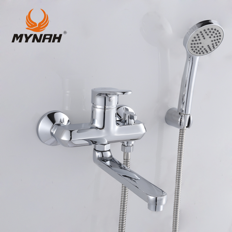 MYNAH Russia free shipping Bathroom Shower Faucet Bath Faucet Mixer Tap With Hand Shower Head Set Wall Mounted MYNAH M3111 wall mount single handle bath shower faucet with handshower antique brass bathroom shower mixer tap