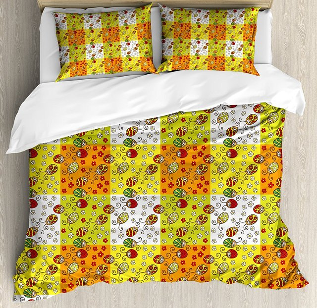 Ladybugs Duvet Cover Set Cartoon Style Flowers and Beetles Squares Nature Ornamental Summer Season Inspired, 4 Piece Bedding Set
