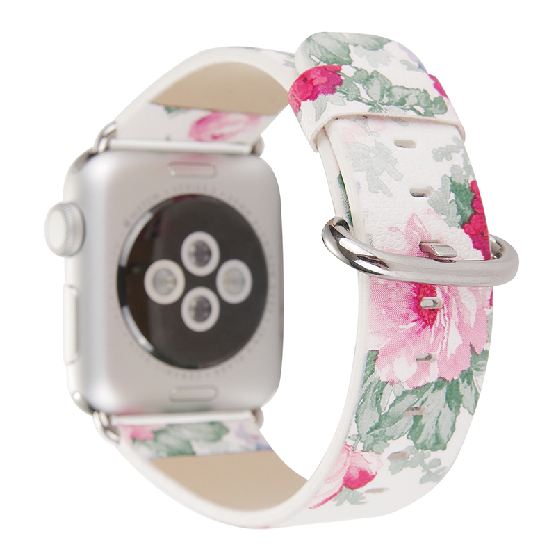 38/42mm Rose Flower Prints PU Leather Band for Apple Watch Black White Khaki iwatch Belt Strap Metal Buckle I253. все цены