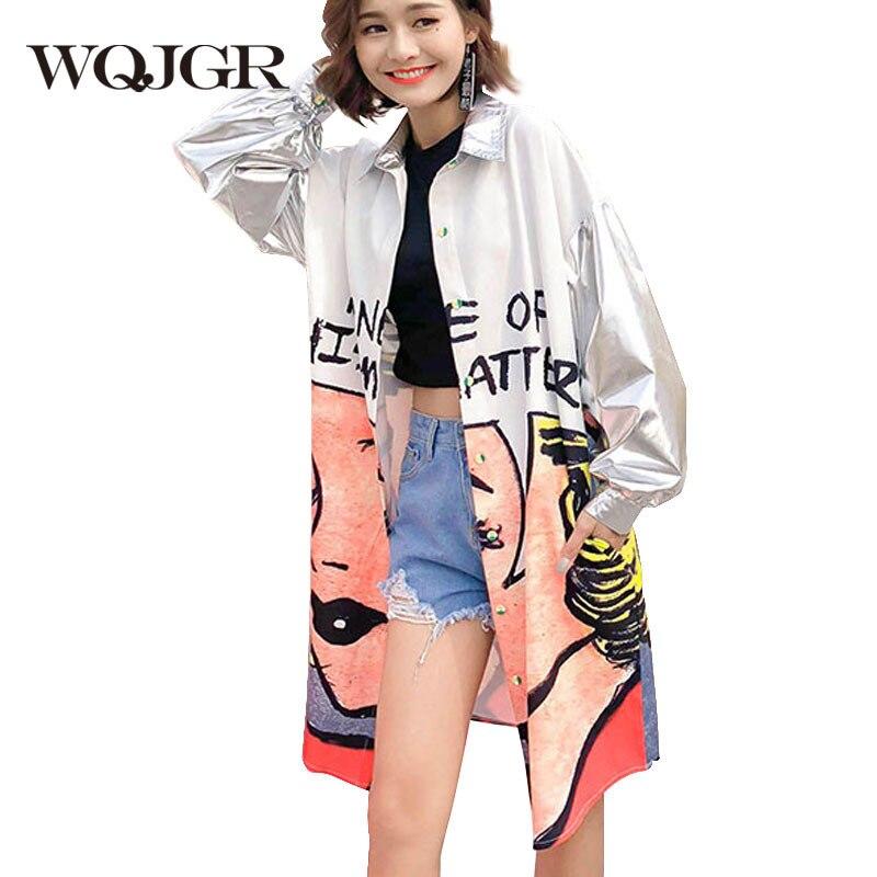 WQJGR Tide Brand 2019 Spring New Cartoon Printing Silver Metal Color Long Cardigan Loose Trench Coat Woman