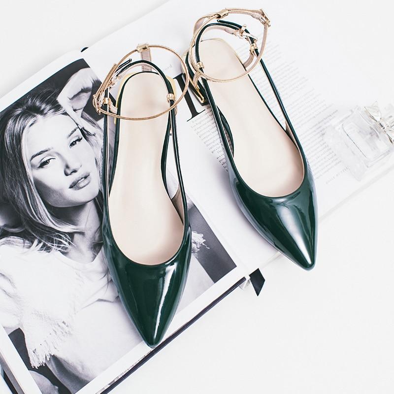 Dame Femme Talons vert Chaussures Sandale Appartements Sandales Sexy Payrty Cheville Plate D'été Plat Avec Noir En forme Pointu 2018 Cuir Femmes Des Bout gwHSUnq6Up