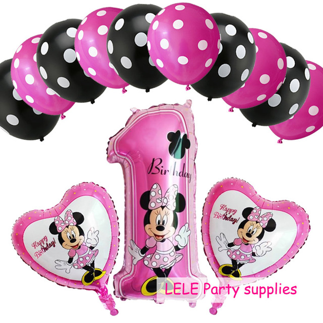 13pcs mickey minnie mouse number 1 helium foil balloons dot latex globos baby shower birthday party decor supplies kids toys