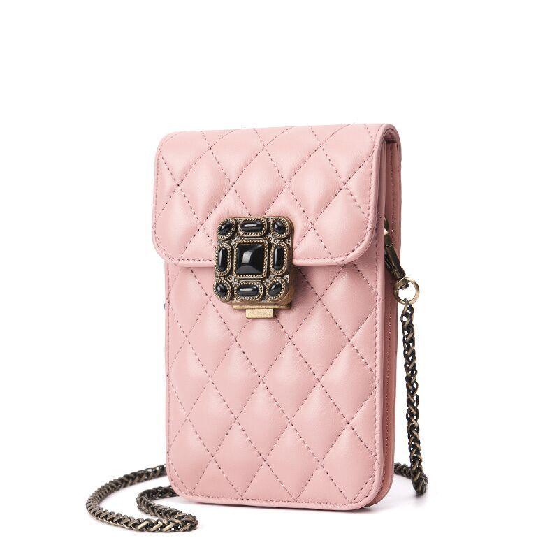 Lang Wei 2018 nouvelle chaîne en biais sac de téléphone mobile dame losange métal boucle portefeuille