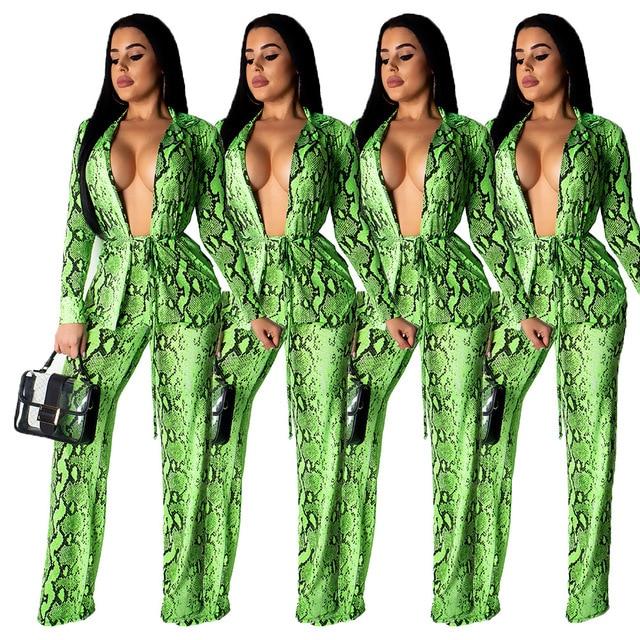 2019 Yeni Kadın Yılan Derisi Baskı Açık Dikiş Uzun Kollu pardösü Çizme Kesim Pantolon Takım Elbise Iki Parçalı Set Rahat kıyafet Eşofman 9002