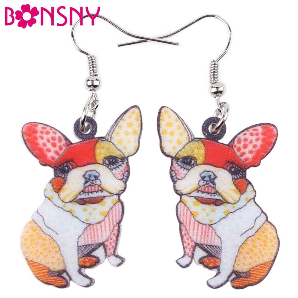 100% Wahr Bonsny Drop Französisch Bulldog Mops Hund Ohrringe Große Lange Baumeln Ohrring Acryl Tier Modeschmuck Für Frauen Kinder Mädchen Geschenk Direktverkaufspreis