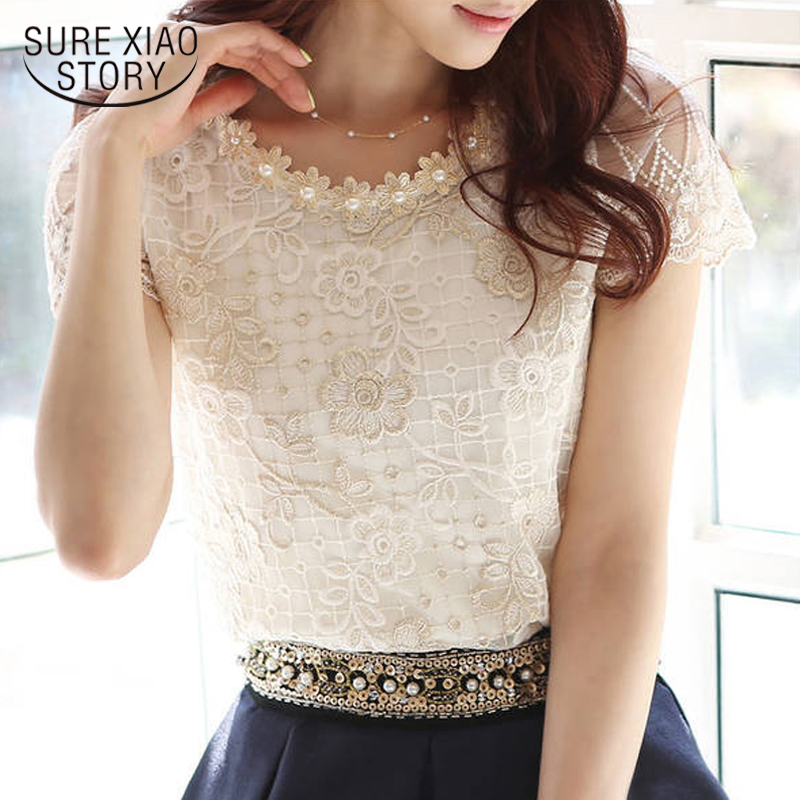 2018 women's chiffon   shirt   lace top beading embroidery o-neck   blouse   Elegant women Lace blous   shirt   The Formal Tops M-XXXL blusa