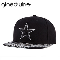 Glaedwine High Quality Gorras Planas Hip Hop Snapback Cap Canvas Embroidery Printing Five-Pointed Star Hip Hop Cap Baseball Cap