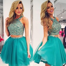 Vestido De Formatura Curto Short Turquoise Prom Dresses With Beaded Sequined A Line Two/2 Piece Tulle O Neck Women Party Gowns
