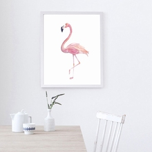Nordic Pink Watercolor Flamingo Canvas Painting Print Poster Picture Bedroom Home Wall Art Decoration Can Be Customized