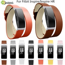 все цены на Genuine Leather Wrist Strap For Fitbit Inspire/Inspire HR smart Watch women's Bands Replacement wristBands Double Wrap Bracelet онлайн
