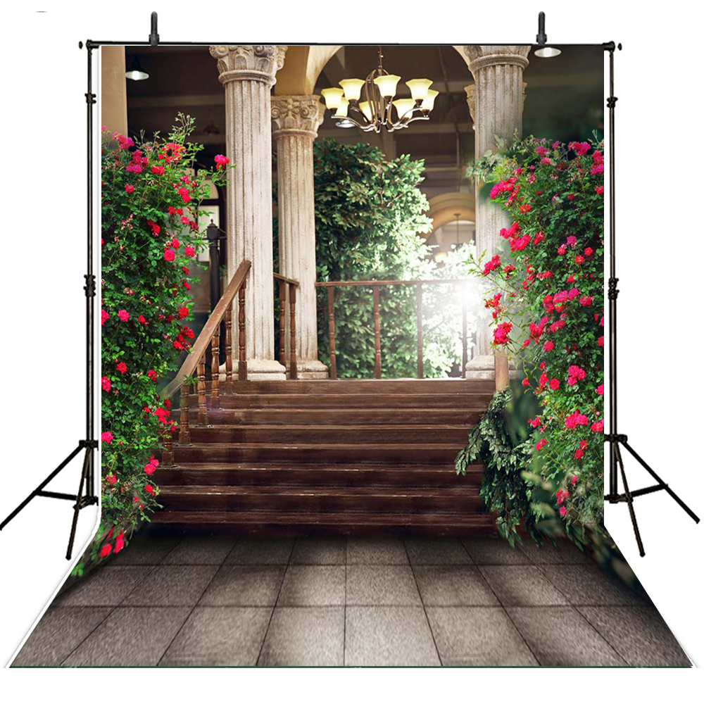 backdrops backdrop studio background flowers vinyl staircase foto achtergrond