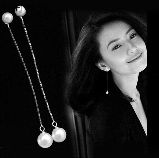 New Arrival!! 925 Sterling Silver Earrings Pearl Balls Long Tassel Chain Stud Earrings Boucle D'oreille For Women S-E02