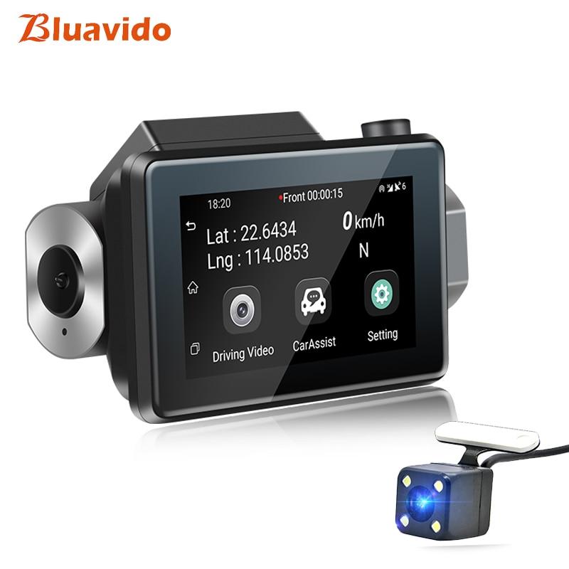 Bluavido Car DVR Gps Logger Dash-Cam Drive-Recorder Remote-Monitoring Dual-Lens Registrar