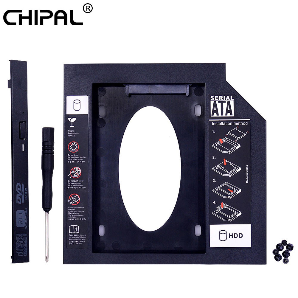CHIPAL Universal 2nd HDD Caddy 9.5mm SATA 3.0 for 2.5'' 9mm 7mm SSD Case Hard Drive Enclosure for Laptop DVD-ROM CD-ROM Optibay(China)
