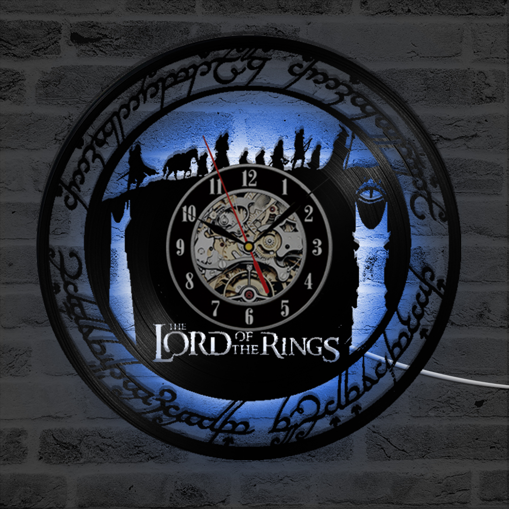 The Lord of the Rings Vinyl Record Wall Clock Creative Handmade Antique Hollow LED Record Hanging Clock Classic Home Decor