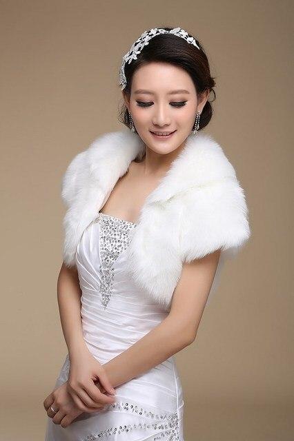 White Wedding Fur Bolero Short Sleeve Faux Fur Stole Bridal Yarn ...