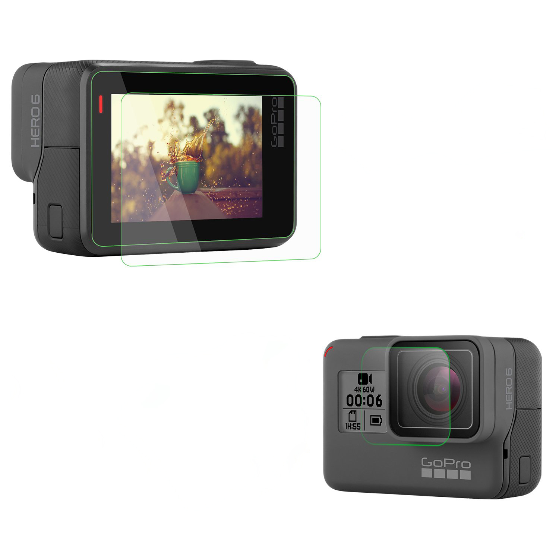30 set protecteurs d'écran en verre trempé + Film d'objectif/ensemble pour GoPro Hero 5 6 7 noir action Sport caméra objectif protecteur accessoires