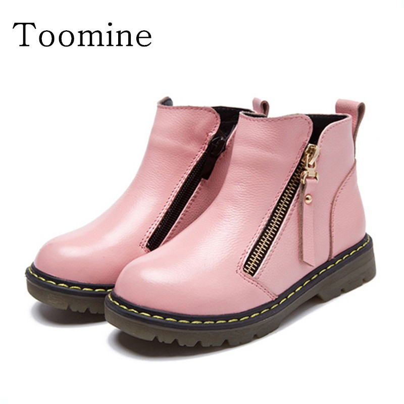 Toomine Girls Snow Boots Kids Winter Genuine Leather Boots Children High Help Shoes Boys Fashion Plush Cow Muscle Bottom Boots