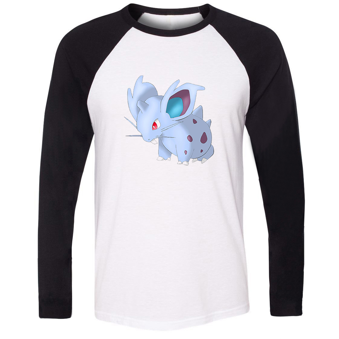 iDzn Unisex T-shirt Pokemon National Pokedex 029 Poison Type Nidoran Pattern Raglan Long Sleeve Men T shirt Boy Casual Tee Tops image