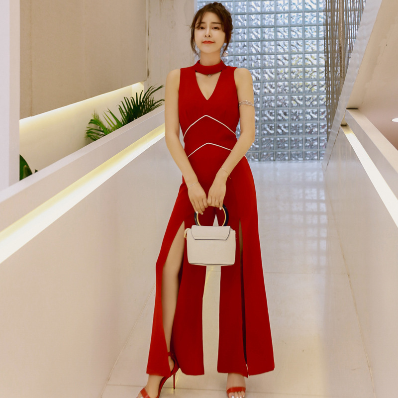 2019 Summer Sexy V-neck High Slit Woman Jumpsuit Eleglant Red Elegant Bodysuit Rompers Womens Jumpsuit Combinaison Femme