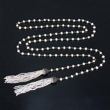 Изысканное длинное жемчужное ожерелье с двойным натуральным