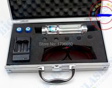 high power blue laser pointers 200000mw 200w 445nm 450nm burning match/dry wood/candle/black/cigarettes+glasses+charger+gift box