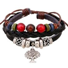 Vintage Multilayers Braided Leather Bracelets Women Men Handmade Wrap Bracelet Wristband Charm Bangles Jewelry