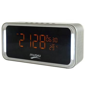 Abuzhen Radio Speaker Bluetooth Speaker Stereo Sound with Alarm Clock and Large LED Dimmable Display for Bedroom Kitchen Hotel