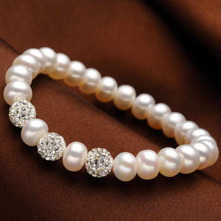 Zhboruini Pesona Gelang Perhiasan Mutiara Bola Kristal Gelang Mutiara Air Tawar Alami 925 Sterling Silver Perhiasan untuk Wanita