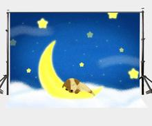 150x220cm Cartoon Fairy Tale Backdrop Blue Midnight Yellow Moon and Stars Sleeping Dog Photography Background