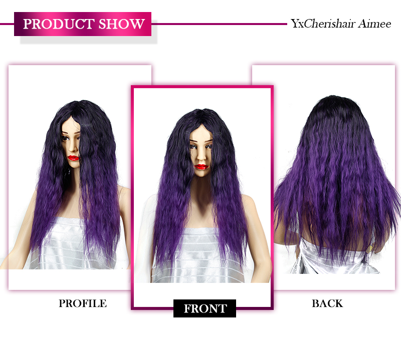 Long Grey Wig Cosplay Synthetic Heat Resistant Fiber Ombre Purple Red Hair Wigs For Women