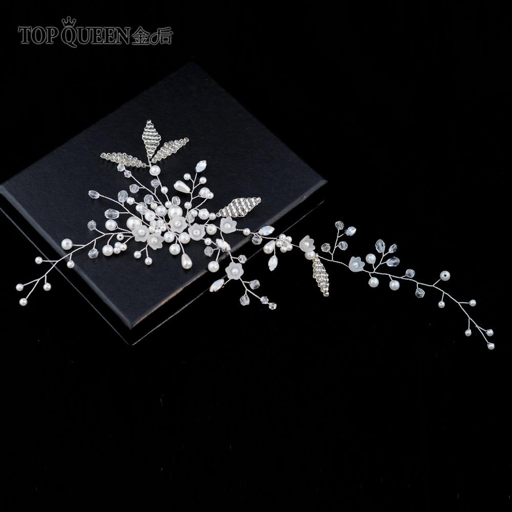 TOPQUEEN HP137 Bridal Headdress Handmade Beaded Crystal And Pearls Prom Headdress Women Girls Wedding Hair Accessories
