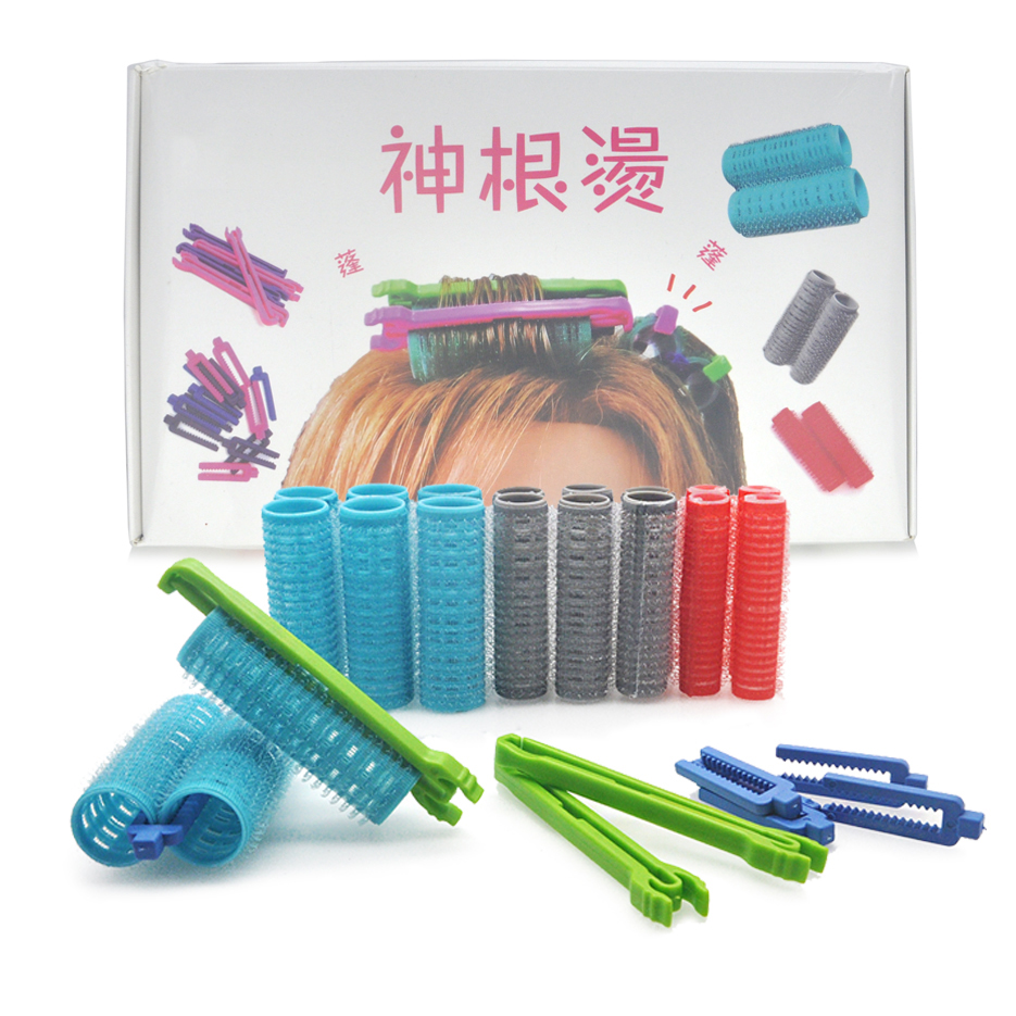 3 Sizes Hook & Loop Hair Rollers & 2 Types Clips Morgan Hair Root Perm Rods Bars Link Fluffy Air Bang Curlers & Clamps Set 1348