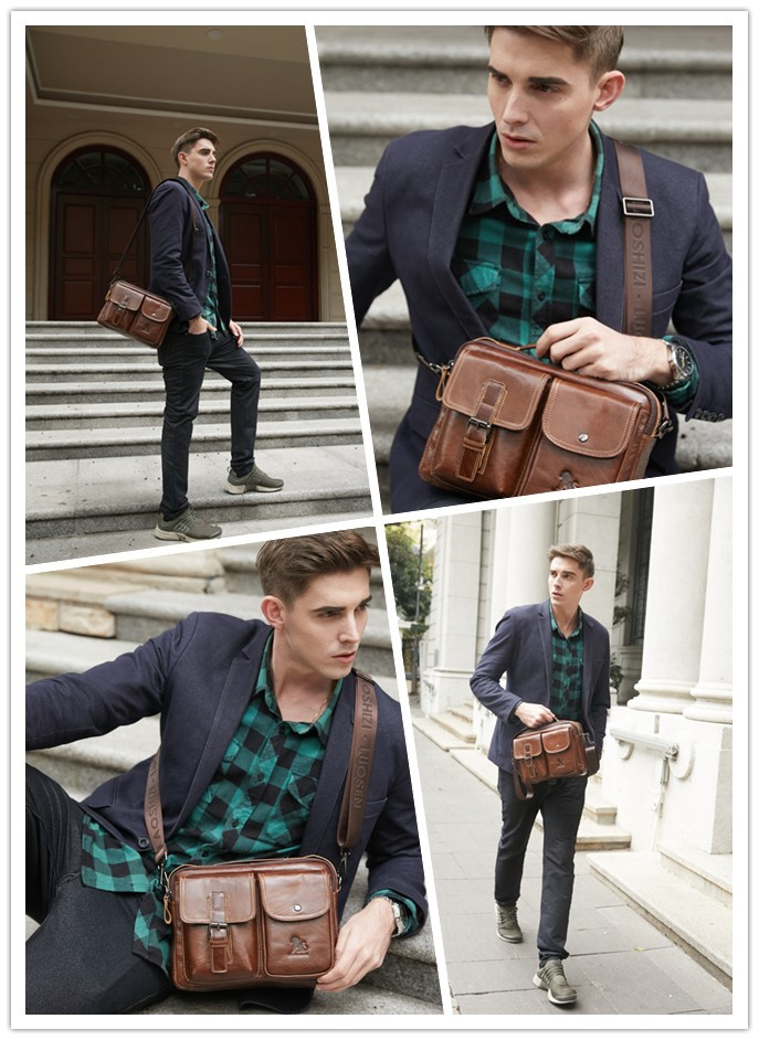 LAOSHIZI LUOSEN men Genuine Leather Shoulder Messenger Bag men's Handbag Vintage Crossbody Bag Tote Business Man Messenger Bag 6