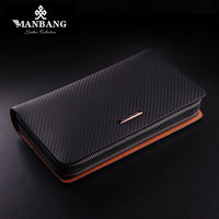 Hot Sale Men Clutch Wallet Long Purse Wallet Luxury Male Genuine Leather Wallet Men Zipper Purse